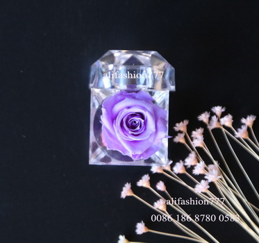 Preserved rose in Crystal Ring Box-07