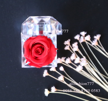 Preserved rose in Crystal Ring Box-08