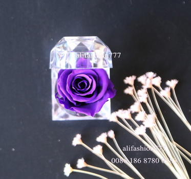 Preserved rose in Crystal Ring Box-10