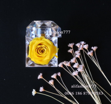 Preserved rose in Crystal Ring Box-15